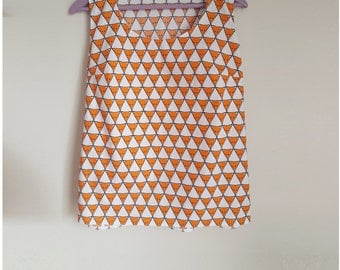 Fox Print Summer Top. Triangle Print. Organic Cotton. Bow Detail. Orange Quirky Top. Sleeveless Women's Top. Made in UK. Quirky Clothing.