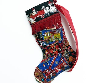Firefighter Christmas stocking, a custom handmade one-of-a-kind holiday decoration for a fireman
