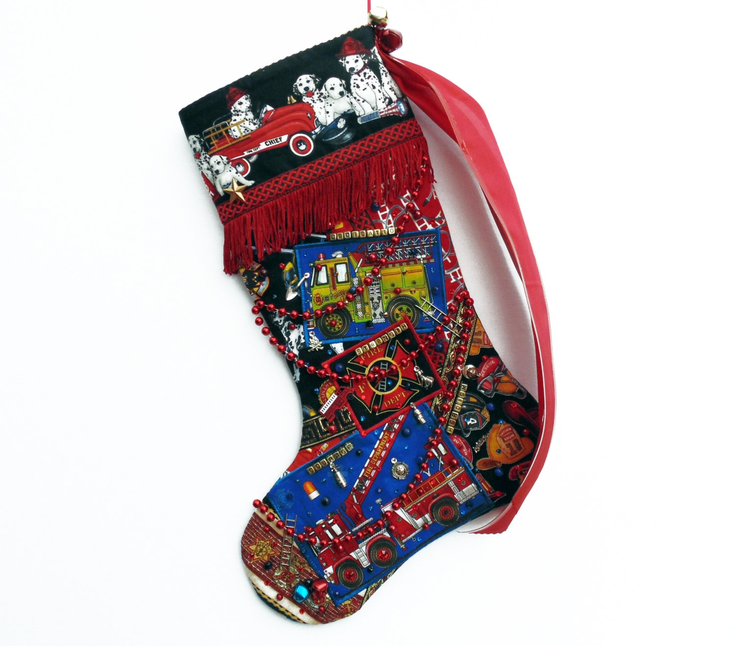 Firefighter christmas stocking a custom handmade for Custom made christmas stockings