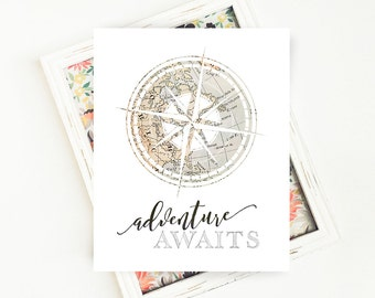 Vintage Map Art Print, Adventure Awaits Map Print, Adventure Awaits Digital Print, Travel PRINTABLE Art, Travel Quote, 8x10 Digital Download