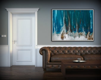 Abstract Art Blue Wall Art Coastal Landscape Giclee Large PRINT On Canvas  Large Modern Home Decor