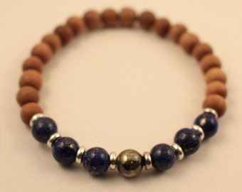 27 Bead - Sandalwood - Lapis Lazuli - Pyrite Mala Bracelet