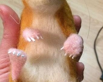 OOAK Needle felted Hamster in Display case