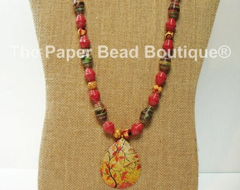 Paper Bead Necklace, Handmade Jewelry Accessories Fall