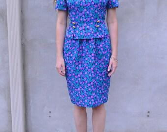 Vintage 1980s Maggy London Vibrant Floral Dress