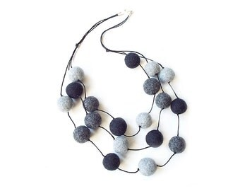 Felted necklace felt necklace felted beads felt beads grey necklace beads wool summer necklace