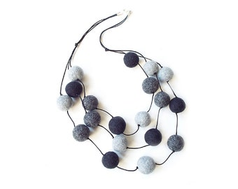 Felted necklace felt necklace felted balls felt balls grey necklace balls wool necklace spring women's gift