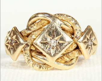 Antique Victorian Diamond Love Knot Ring in 18k Gold, London 1857