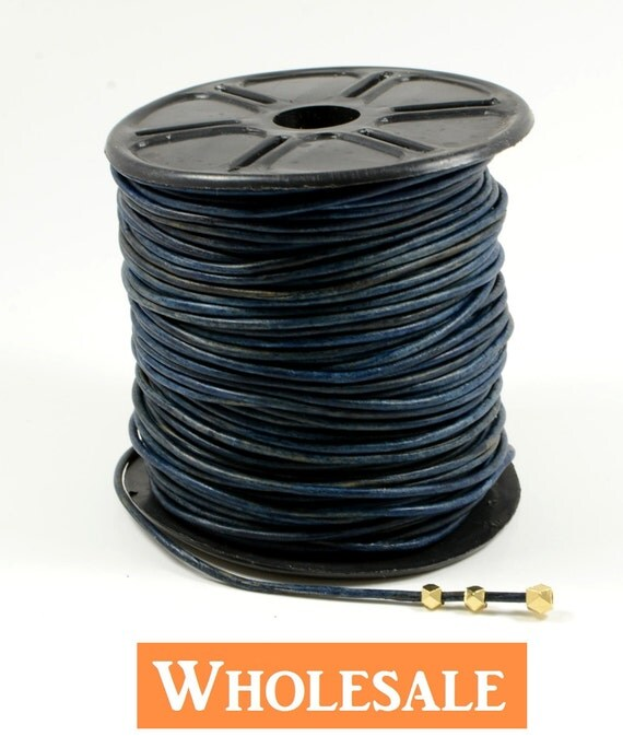 2mm leather cord WHOLESALE in denim/ navy blue color, fine genuine leather cord - 10 yards/order