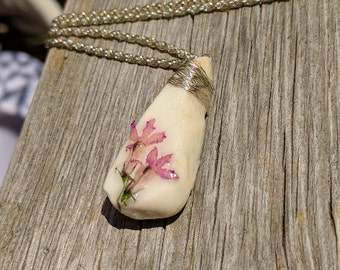 Beach Stone Pink and White Pendant