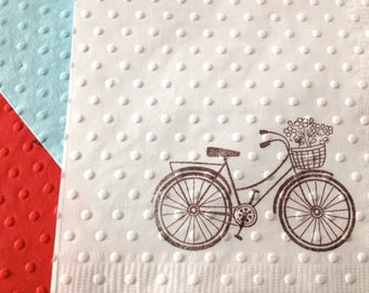 Bicycle Party - Bicycle Theme - Wedding Napkins - Bridal Shower - Baby Shower - Birthday - Bike Theme - Bicycle Napkins - Paper Napkins