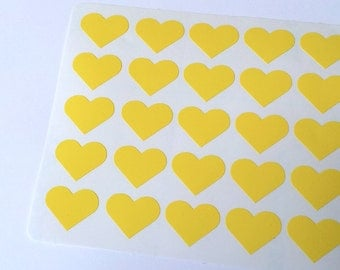 50 Yellow Heart Stickers, Heart Planner Stickers, Heart Envelope Seal, Heart Party Stickers, Heart Wedding Stickers, Heart Birthday Stickers