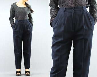 Navy Blue High Waist Lined & Tapered Wool Trousers / Pants By Worthington Size 4P Petite Women's  90's Vintage