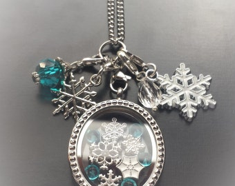 Snowflake Floating Locket Necklace-Great Gift Idea