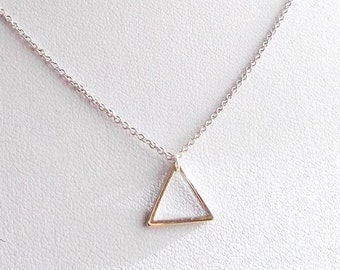 Tiny Silver Triangle Minimal Necklace - Minimalist Everyday Simple Geometric Style Jewelry - Dainty Thin Chain Geo Necklace - Womens Gift