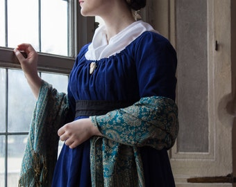 10% off!  19th century drawstring Regency dress in cotton, choose your size! Historical costume Reenactment Living History Jane Austen