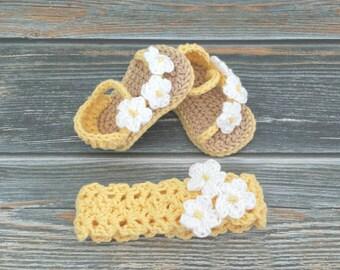 Crochet Baby Set - Sandal and Headband Set - Baby Girl Sandals- Newborn Baby Sandals - Crochet Baby Gift - Baby Shower Gift