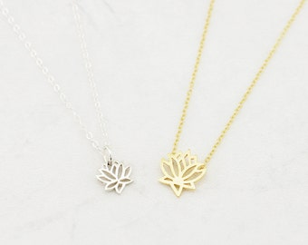 Gold Or Silver Yoga Necklace, Lotus Necklace, Sterling Silver, Mother's Necklace, Dainty Necklace, Christmas Gift
