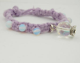 Adjustable Opalite Purple Hemp Bracelet with Crystal Ball Charm