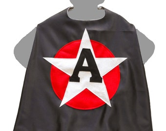 Black Silver Cape - Silver Star Cape - Silver Superhero - Red Silver Glitter Superhero - Magician Cape - Magic Party Cape