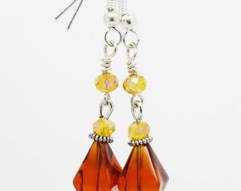Amber Earrings, Amber drop Earrings,  Amber Earrings, Crystal Earrings, Drop Earrings, Crystal Drop Earrings, Amber Dangle Earrings