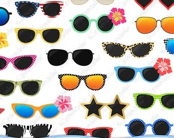 50 Sunglasses clipart. Digital sunglasses clip art, pool party clipart, shades clip art, summer clipart, summer clip art. Instant Download.
