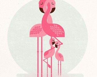 Flamingo Family (2 chicks), Retro Print, Wall Art, Home Decor
