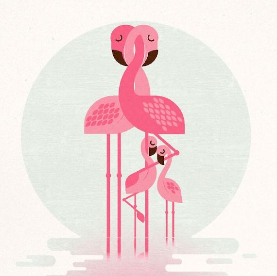 Flamingo Family (2 chicks), Retro Print, Wall Art, Home Decor