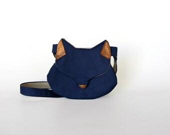 Cat bag, cat purse, cat handbag, gift for her, fox purse, fox bag, navy blue