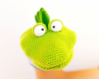 Dino the Hand Puppet PDF crochet pattern softie, dinosaur