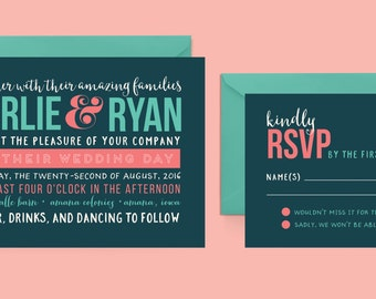 Fun Wedding Invitation and RSVP Postcard, Coral and Teal Wedding Invitation, Modern Wedding Invitation, Whimsical Wedding Invitation