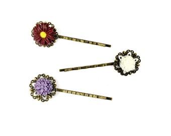 Flower Bobby Pins // Bronze Hair Pin, Hair Jewelry, Hair Jewellery, Hair Flowers, Flower Grips, Flower Hair Slides, Bronze Jewelry