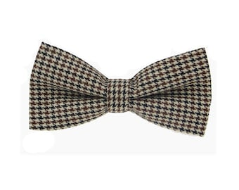 Brown Houndstooth Bowties.Pre-tied Bowties.Mens Bow Tie.Bowtie for Party.Bowtie for wedding.