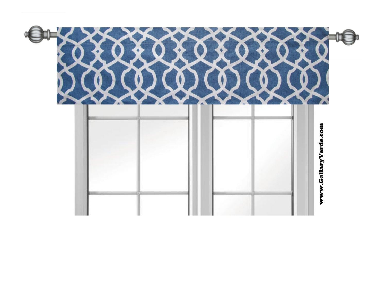 Blue Valance Kitchen Valance Gray Trellis Valance Curtain