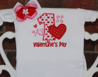 2 pc. My 1st Valentine's Day Bodysuit and Hair bow! Baby girl first Valentine's Day outfit with applique top and matching hair bow