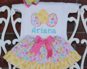Girls Easter Outfit! Personalized Easter bodysuit or shirt with ruffle skirt, and hair bow! Pastel pink, blue, yellow and green