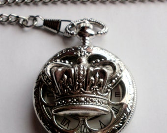 Royal Crown Pocket Watch, Silver Pocket Watch Necklace or Pocket Watch Chain, Victorian Crown Watch Pendant, Groomsmen Gift, Unique Gift