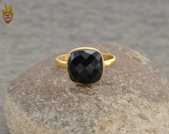 Black Onyx Ring - Bezel Ring - Gemstone Ring - Micron Gold Plated Ring - Sterling Silver Ring - Birthstone Ring - 10mm Cushion Cut #1249