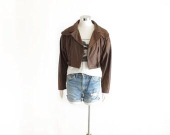 Cropped biker jacket | Etsy
