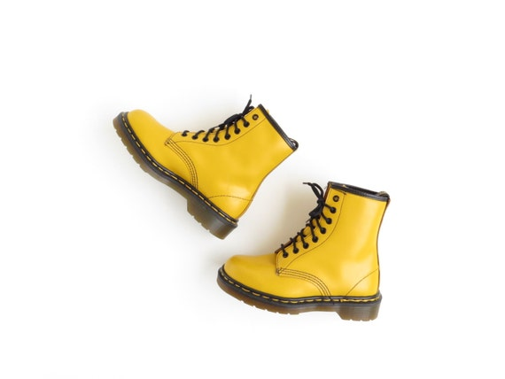 yellow dr martens boots doc martens boot 90s soft grunge ankle. Black Bedroom Furniture Sets. Home Design Ideas
