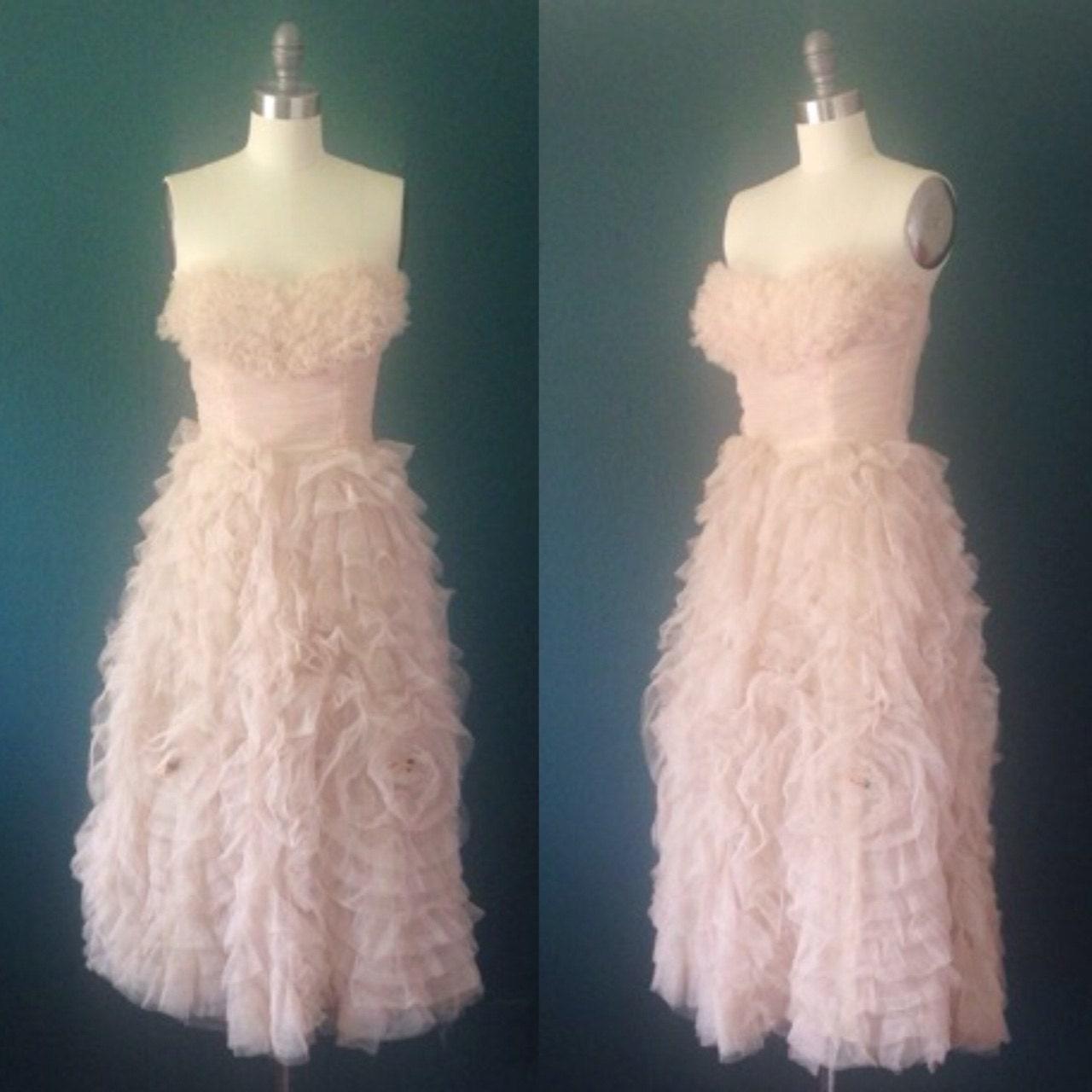 Blush Wedding Dress Petite : Blush dress gown tan tulle wedding