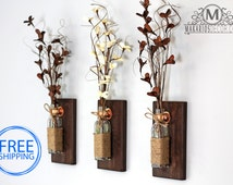 Rustic Wall Sconce.Mason Jar Sconce.Wood Wall Sconces.Mason Jar Decor.Wall Sconce.Rustic Sconce.Sconces.Sconce.Shabby.(Rustic Wall Sconce)