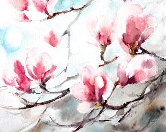Magnolia art print, watercolor print, pink blossoms print, watercolor painting of magnolia flowers, floral wall art