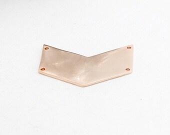 Rose Gold Chevron, 17x39mm , Chevron Pendant, Rose Gold Pendant, ROSE101