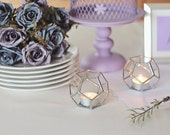 Glass Candle Holder Set, Geometric Wedding Decor, Wedding Favors, Mothers Day Gift, Hostess Gift, Housewarming Gift, Votive Candle Holders