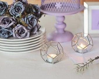 Geometric Glass Candle Holder Set, Wedding Favors, Halloween Decor, Wedding Decor, Hostess Gift, Housewarming Gift, Votive Candle Holders