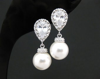 Bridal Pearl Earrings Wedding Pearl Jewelry Swarovski 10mm Round Pearl Bridesmaid Gift Dangle Drop Earrings Cubic Zirconia Earrings (E014)