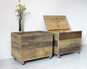 Wooden Storage Box, Large Wooden Organiser Chest Side Table, Reclaimed Wood Farmhouse, Rustic And Industrial Reclaimed Barn Wood Furniture