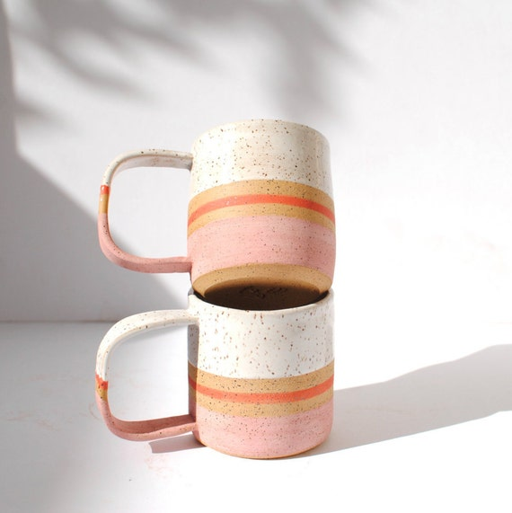 Handmade Ceramic Blush Stripe Mug