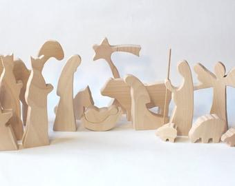 Wooden Nativity - NATURAL Nativity creche Nativity set Wood nativity Nativity manger Nativity figures Nativity scene Nativity silhouette